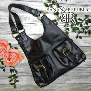 banana republic italian leather large black hobo